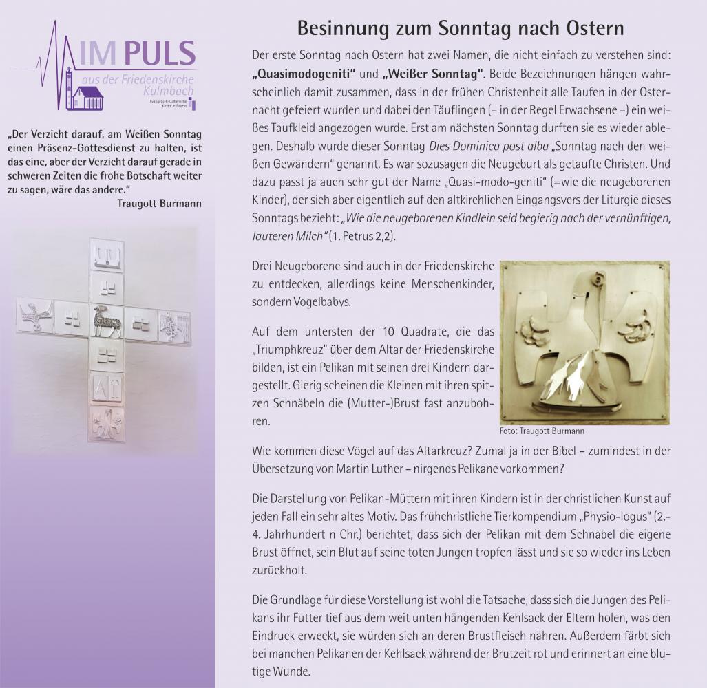 Besinnung zum Sonntag nach Ostern von Traugott Burmann (1)
